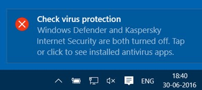 Check virus protection notification